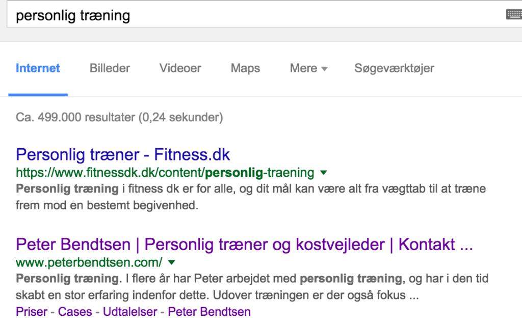 Google søgning på Personlig Træning