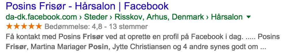 Facebook Side på Google's Søgeresultater