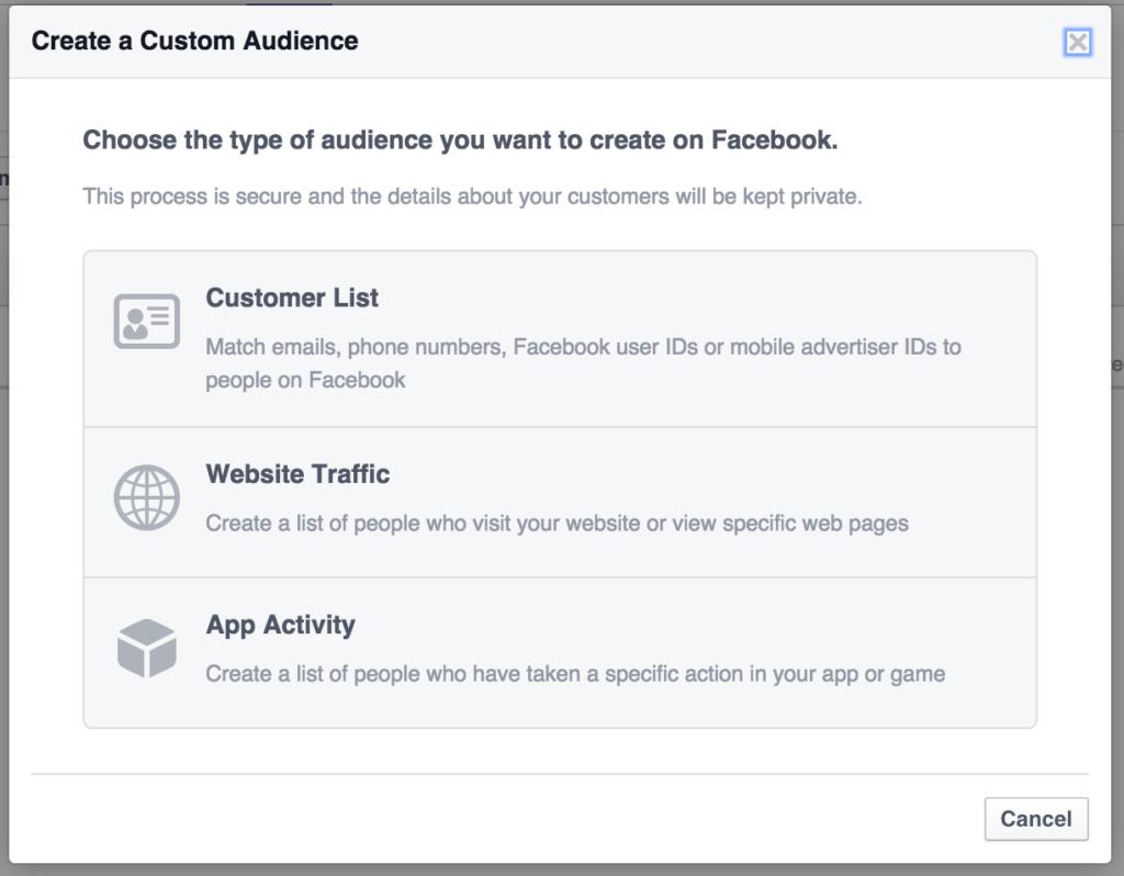 Custom Audience via Facebook Annoncering