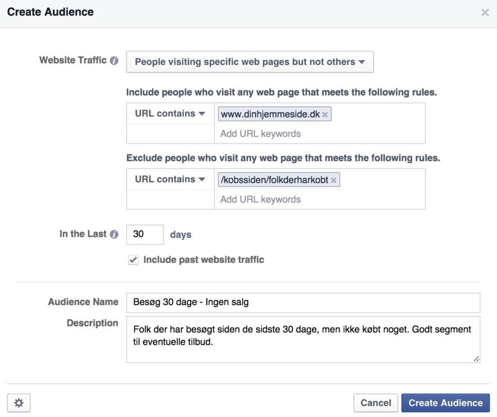Eksempel på Audience i Facebook Ads