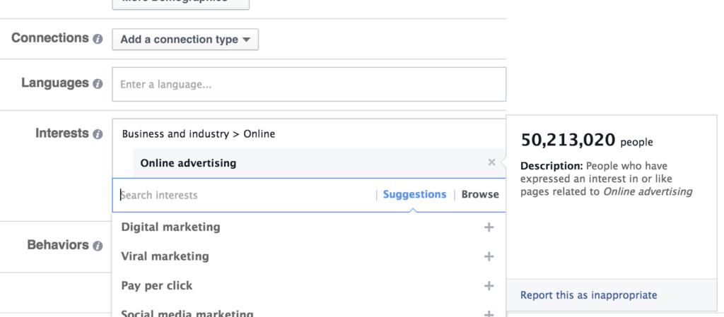 Facebook Business Manager Interests