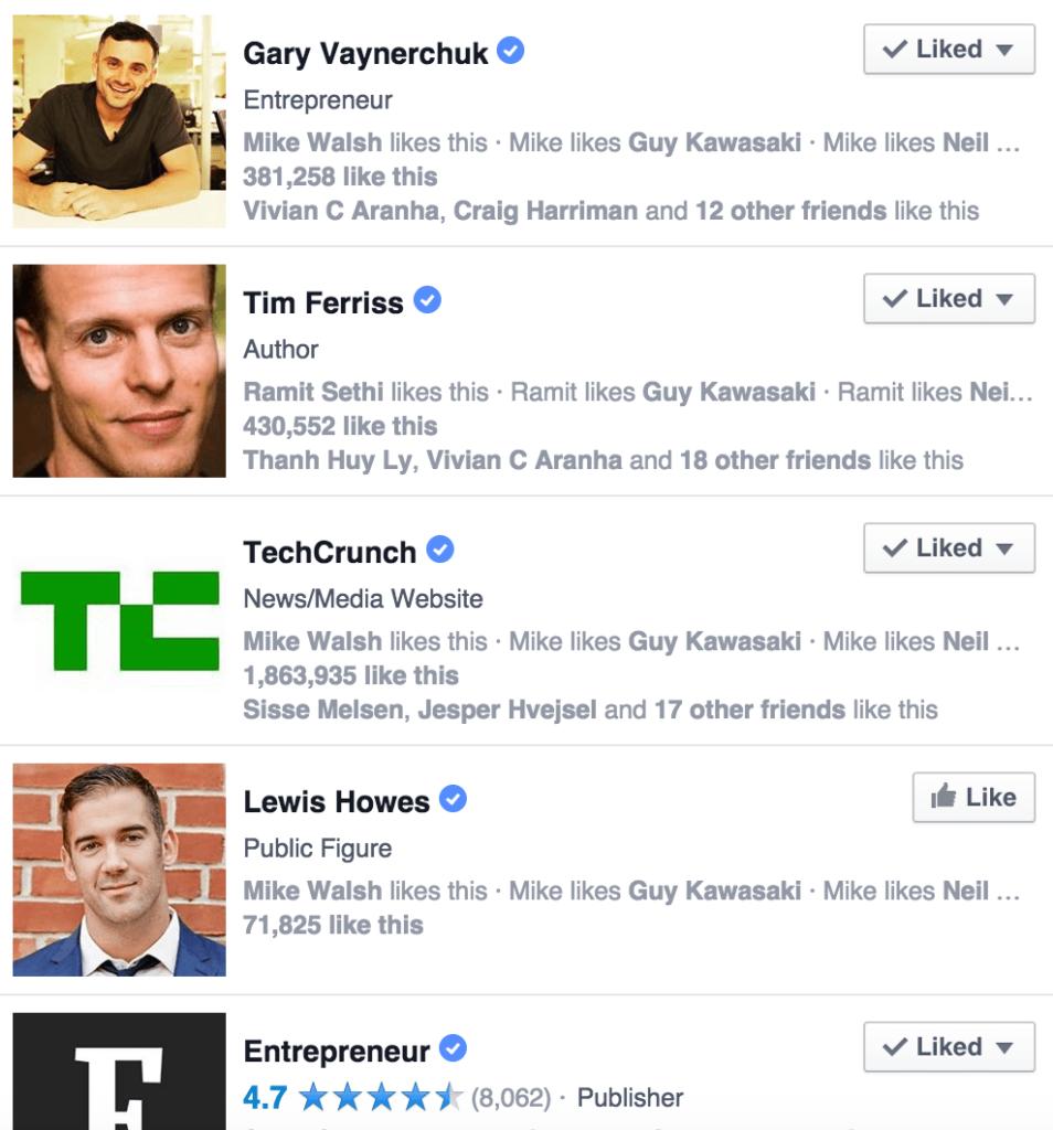 Eksempel på søgeresultat på Facebook