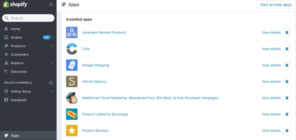 Shopify til Webshop