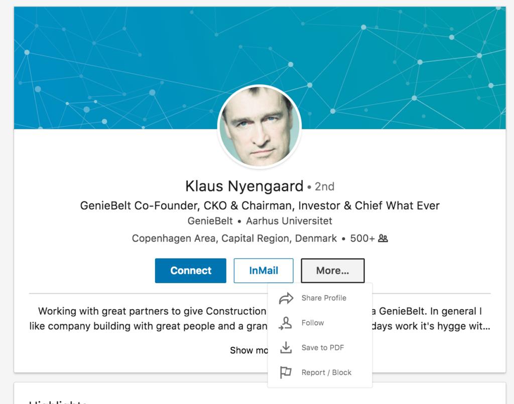 LinkedIn - Klaus Nyengaard Profil