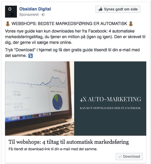 Eksempel på Lead Ads Facebook