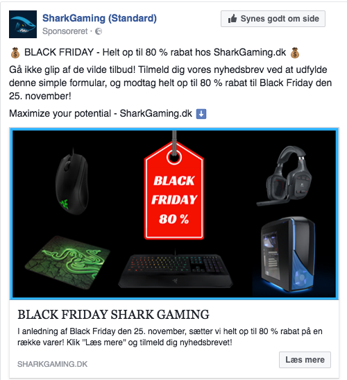 Facebook Lead Annonce for SharkGaming