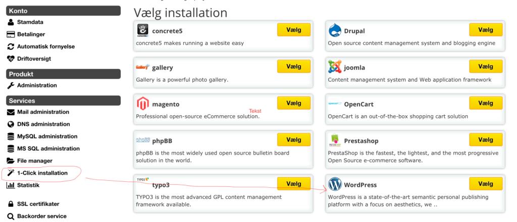One-Click Installation af WordPress